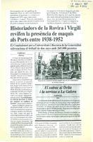Historiadors de la Rovira i Virgili revifen la preséncia de maquis als Ports entre 1938-1952.