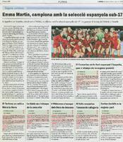 Emma Martín, campiona amb la selecció espanyola sub-17.
