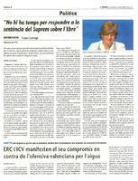 ERC i ICV manifesten el seu compromís en contra de l&#039;ofensiva valenciana per l&#039;aigua<br /><br />
