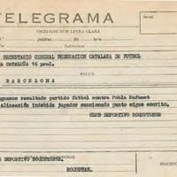 Telegrama del CD Roquetenc a la Federació Catalana de Futbol, 1975