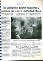 Los ecologistas quieren recuperar la presencia del lobo en Els Ports de Beseit