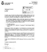 Comunicat de l'Ajuntament de Roquetes al CD Roquetenc, en motiu de la sol·licitud per utilitzar la sala del Casal Municipal de l'Hort de Cruells, 2 de desembre de 1998