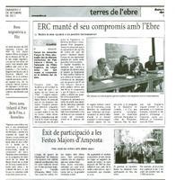 ERC manté el seu compromís amb l'Ebre
