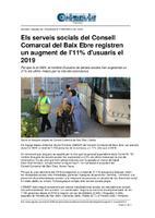 Els serveis socials del Consell Comarcal del Baix Ebre registren un augment de l'11% d'usuaris el 2019.