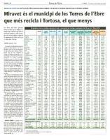 Miravet és el municipi de les Terres de l'Ebre que més recicla i Tortosa, el que menys