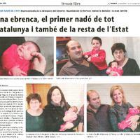 Una ebrenca, el primer nadó de tot Catalunya i també de la resta de l'Estat