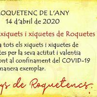 Roquetes fa 'Roquetenc de l'any 2019' a tots els xiquets i xiquetes pel seu comportament davant la pandèmia del coronavirus.