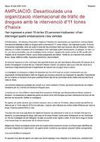 Desarticulada una organització internacional de tràfic de drogues amb la intervenció d'11 tones d'haixix.