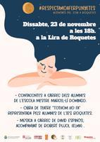 Cartell  de les activitats programades per al 23 de novembre del 2019 a la Lira de Roquetes en motiu del Dia Internacional per l'eliminació de la Violència envers les dones