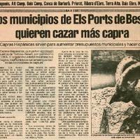 Los municipios de Els Ports de Beseit quieren cazar más capra: las capras Hispánicas sirven para aumentar presupuestos municipales y hacer comidas