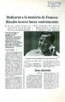Dedicaran a la memória de Francesc Riocabo la nova bassa contraincendis