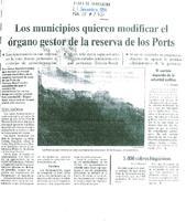 Los municipios quieren modificar el órgano gestor de la reserva de los Ports