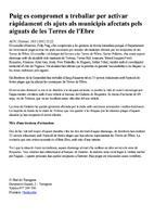 Puig es compromet a treballar per activar ràpidament els ajuts als municipis afectats pels aiguats de les Terres de l'Ebre