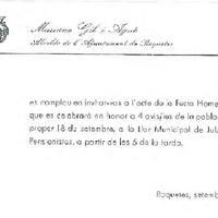 Invitació de Mariano Gil i Agné, Alcalde de Roquetes, a l'acte de la festa Homenatge que es celebrarà en honor a 4 avis/ies de la població, el proper 18 de setembre a la Llar Municipal de Jubilats i Pensionistes.