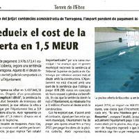 Roquetes redueix el cost de la piscina coberta en 1.5 MEUR