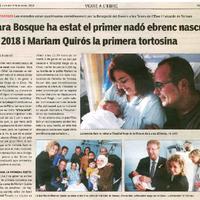 Sara Bosque ha estat el primer nadó ebrenc nascut el 2018 i Mariam Quirós la primera tortosina.