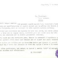 Comunicat del President del CD Roquetenc al President dela UD Aldeana, en motiu de la defunció del jugador juvenil Joan Carracedo, 1 de febrer de 1990