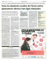 Totes les denúncies  resoltes de l'Estat contra ajuntaments ebrencs han sigut rebutjades