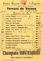 Llistat de preus del bar del CD Roquetenc de les Festes Majors de 1982