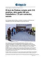El brot de Padesa compta amb 318 positius, dels quals 246 són treballadors i 72 són contactes estrets.