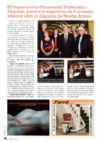 El Departament d'Innovació, Universitat i Empresa premia la trajectòria de 2 artesans ebrencs amb el Diploma de Mestre Artesà.