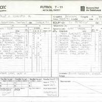 Acta de la Federació Catalana de Futbol del Partit entre el CD El Perelló i el CD Roquetes, el 18 de abril de 2009