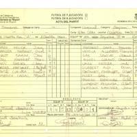 Acta de la Federació Catalana de Futbòl del Partit entre SCER l'Ametlla de Mar  i el CD Roquetes, el 30 de novembre de 1996