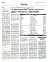 Els ajuntaments de l'Ebre han de retornar a l'Estat 7M€ en impostos del 2009