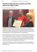 Roquetes entrega 500 euros a un dels socorristes ebrencs que viatja a Lesos