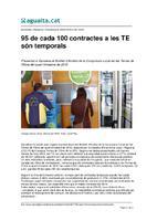 95 de cada 100 contractes a les TE són temporals