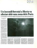 Un incendi forestal a Horta va afectar ahir una zona dels Ports
