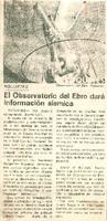 El Observatorio del Ebro dará información sísmica