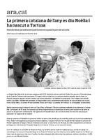La primera catalana de l'any es diu Noèlia i ha nascut a Tortosa