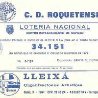 Butlleta de Loteria nacional del CD Roquetenc del 1979