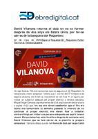 David Vilanova retorna al club on es va formar després de dos anys als Estats Units, per fer-se càrrec de la banqueta del Roquetenc.