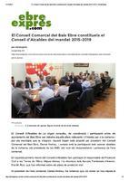 El Consell Comarcal del Baix Ebre constitueix el Consell d'Alcaldes del mandat 2015-2015