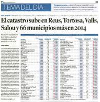 El catastro sube en Reus, tortosa, Valls, Salou y 66 municipios más en 2014