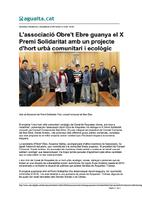 L'associació Obre't Ebre guanya el X Premi Solidaritat amb un projecte d'hort urbà comunitari i ecològic