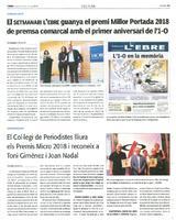 El Setmanari l'Ebre guanya el premi Millor Portada 2018 de premsa comarcal amb el primer aniversari de l'1-O.