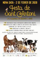 Cartell de la Festa de Sant Antoni a la carretera de Roquetes a Jesús, 2 de febrer de 2020