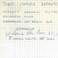 Comunicat de Joan Codorniu Roselló, President del CD Roquetenc al Capità de l'Acadèmia General Militar de Saragossa en relació a Jorge Chavez Infante, 1994