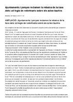 Ajuntaments i penyes reclamen la rebaixa de la taxa dels col·legis de veterinaris sobre els actes taurins
