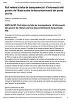 Rull reitera la falta de transparència i d'informació del govern de l'Estat sobre la descontaminació del pantà de Flix.