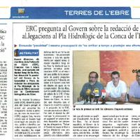 ERC pregunta al Govern sobre la redacció de les al·legacions al Pla Hidrològic de la Conca de l'Ebre