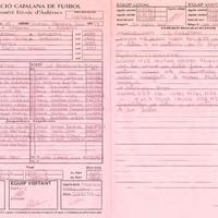 Acta de la Federació Catalana de Futbòl del Partit entre UE Remolins- Bitem i el CD Roquetes, el 8 de febrer de 2003