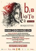 Cartell de les activitats realitzades a la Biblioteca de Roquetes en motiu del Dia Internacional per a l'Eliminació de la Violència envers les Dones, novembre 2019