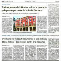 Investigats per falsedat documental el cap de l'Area Bàsica Policial i dos mossos per l'1-O a Roquetes.