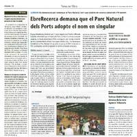 EbreRecerca demana que el Parc Natural dels Ports adopte el nom en singular.