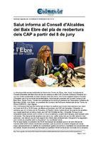 Salut informa al Consell d'Alcaldes del Baix Ebre del pla de reobertura dels CAP a partir del 8 de juny.