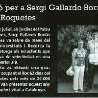 Distinció per a SErgi Gallardo Borràs de l'IES Roquetes